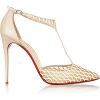 Christian Louboutin - Salonu 100 embroidered mesh and leather pumps