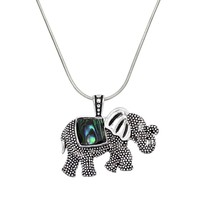 Elephant and Abalone Pendant Necklace in Silver
