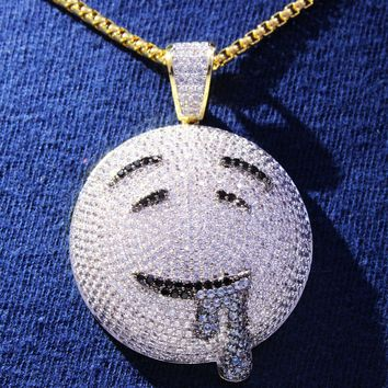 Men's Drooling Face Emoji  14k Gold Finish Pendant