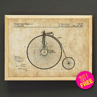 Penny Farthing Bicycle Patent Print Penny Farthing Bike Blueprint Poster House Wear Wall Art Decor Gift Linen Print - Buy 2 Get FREE -302s2g