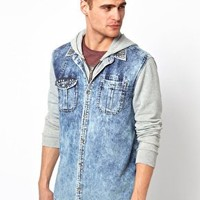 River Island Overshirt with Jersey Sleeves at asos.com