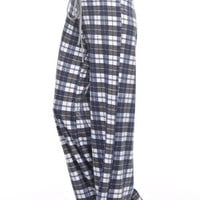 Plaid Print Wide Lounge Pants - Navy/Grey