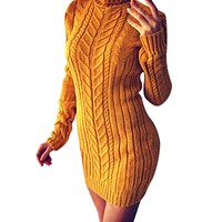 Turtleneck long sleeve sweater dress Yellow bodycon sexy women dress pullover female Thick spring dresses Ladies