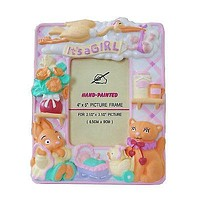 """Pink It's a Girl Picture Frame Baby Shower 2.5"""" x 3.5"""" Tabletop Frame"""