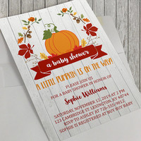 Printable Autumn Baby Shower Invitation, A Little Pumpkin, Rustic, 5x7 Inch, Autumn Baby, Autumn Leaves, Fall Leaves, Baby Shower