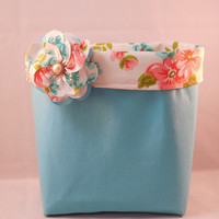 Pretty Turquoise Fabric Basket With White, Coral and Turquoise Floral Liner And Detachable Fabric Flower Pin For Storage Or Gift Giving