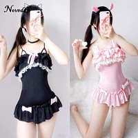 One Piece Swimsuit Cute Sexy Cosplay Costume Women Cute Black Cat & Powder Rabbit Swimsuit Summer Sukumizu Evangelion Macchar Cosplay Catalogue