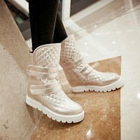 Velcro Ankle Boots Platform Wedges Women Shoes Fall Winter 11191501