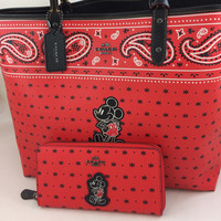New Authentic Coach F59376 Reversible City Tote In Prairie Bandana Print With Mickey+ Wallet Set