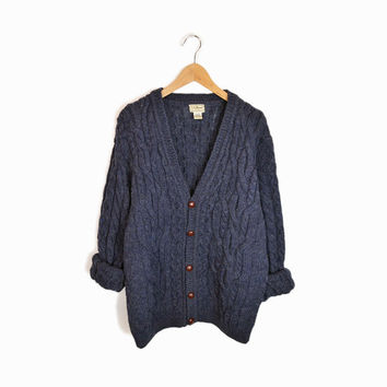 Vintage Cable Knit Wool Cardigan Sweater in Dark Blue Gray  - men's large
