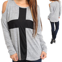 New Grey Long Sleeve Open Shoulder Sweater With Black Cross.