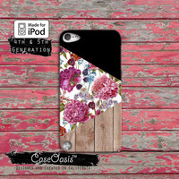 Triangle Geometric Modern Vintage Floral Wood Print Case iPod Touch 4th Generation or iPod Touch 5th Generation or iPod Touch 6th Gen Rubber