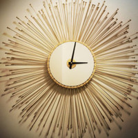 Sunburst Bike Clock, Mid Century Starburst Wall Clock, Steampunk Home Decor, Bicycle Gift For Her, Cyclist Gift, Large Wall Clock