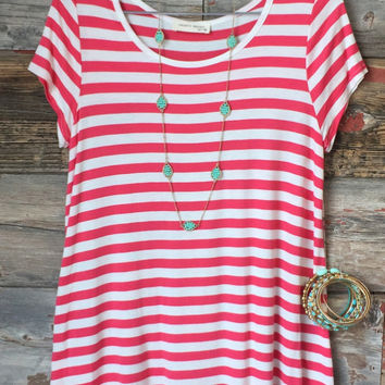 Check Back Striped Top with Floral Backline