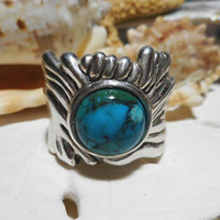 Sterling Silver Big Bold Electroform Turquoise Ring  9.54g Size 10