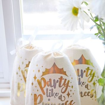Party Like a Princess Gold Foil Gift Bags