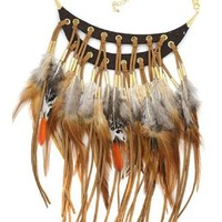 Tribal Feather Choker Necklace