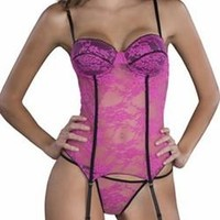 Sexy Sheer Lace Garter Bustier Panty Set