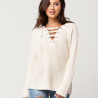 RAZZLE DAZZLE Lace Up Womens Sweater   Pullovers