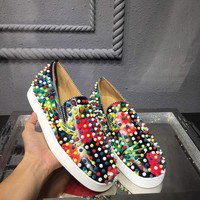 KUYOU Christian Louboutin red sole classic rivet Roller Boat CL color low-top sneakers