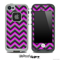 Black and Pink Chevron V4 Skin for the iPhone 5 or 4/4s LifeProof Case