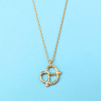 Pretzel, Gold, Silver, Necklace, Pretzel, Snack, Cookie, Food, Yummy, Jewelry, Cute, Modern, Dainty, Jewelry, Birthday, Friendship, Gift