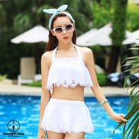 New 2016 Brand Swimsuit Solid Padded Swimwear Tankini Set White Halter Beachwear Swimming Clothing for Girls Women