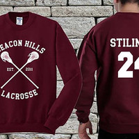 BEACON HILLS Lacrosse Team White Maroon sweater sweatshirt teen wolf. Personalized back Stilinski 24