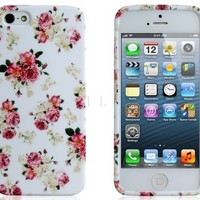 Brightdeal Floral Print TPU Rubber Case for iPhone 5 5S