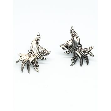 Antique Victorian flying bird highly detailed sterling silver screw back earrings 925
