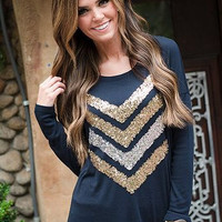 Casual Sequined Design Long Sleeve Sweat Shirt
