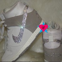 Glitter Initial Nike Dunk Ski High Wedge White Bone