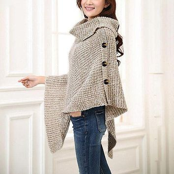 Knitted turtleneck cloak sweater Women Elegant button casual christmas pullover OverColor jumpers pull femme