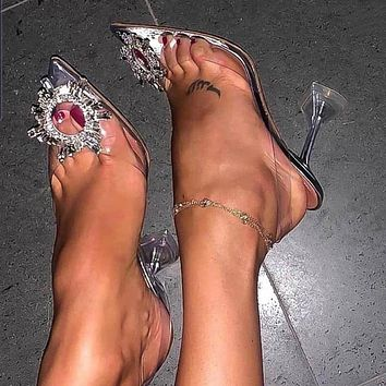 Luxury Women Transparent High Heels Sexy Pointed Toe