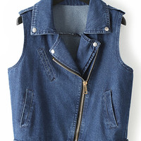 Blue Sleeveless Lapel Pockets Oblique Zipper Denim Jacket