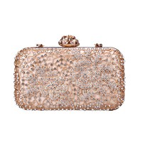 Women Evening Bag,Diamond Beaded Handbag Shoulder Diagonal Chain Bag For Wedding Bridal Prom Party Gift