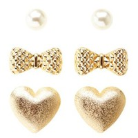 Pearl, Bow & Heart Stud Earrings - 3 Pack by Charlotte Russe - Gold