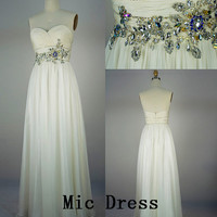 High Quality /Sweetheart sleeveless crystal beads pleated floor-length Evening/Party/Homecoming/cocktail dress/Bridesmaid/Formal Dress