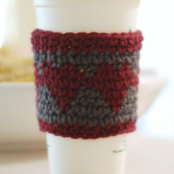 Crochet Coffee Cup Cozy Dark Gray with Maroon Heart Travel Cup Cozy Cup Sleeve Gift Idea
