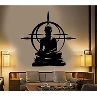 Buddha Wall Decal Chakra Mandala Mantra Chakra Meditation Vinyl Sticker Unique Gift (z2862)