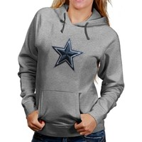 Dallas Cowboys Ladies Stitched Star Pullover Hoodie - Ash