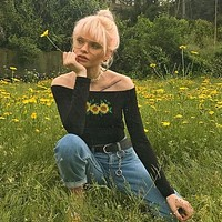 Embroidered Sunflower Crop Top