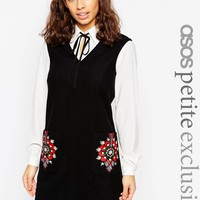 ASOS PETITE Pinafore Dress with Embroidered Pockets at asos.com
