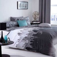 Catherine Lansfield City Scape Double Bed Quiltset, Multi:Amazon:Kitchen & Home