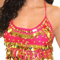 Chiffon Halter Top with Paillettes & Colorful Bells - DARK PINK