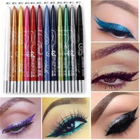 MENOW Brand Black White Eyeliner Pencil Pen Makeup 12pcs/Lot Easy To Wear Eyes Tattoo Pigment Waterproof Glitter EyeLiner Beauty