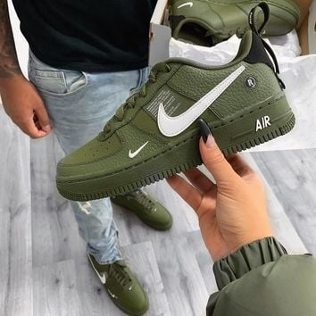 Nike Air Force 1 No.1 Men's Leisure Shoes of the Army Green Air Force