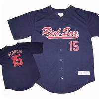 Boston Red Sox Dustin Pedroia 15 Name Number Jersey Top Sizes Baby Toddler Kids