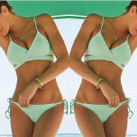 Summer Strappy Wrap Push Up Bikini Set Womens Cross Straps Bikinis Women Monokini Maillot De Bain biquini Swimsuit Swimwear E172
