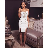 Solid Color Fashion Crisscross Bandage Hollow Sleeveless Strap Mini Dress